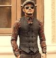 Mens Dupla Breasted Colete Homens Colete Formal de Homens Vestido de Terno Cinza colete de Terno Colete Colete Magro Jacket Negócios Tops homme 2016 primavera