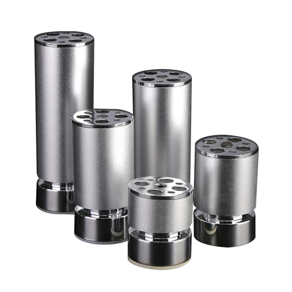 Aluminum Alloy Furniture Legs Cabinet Table Round Shape 8mm Adjustable Feet 50x60/80/100/120/150/180/200/250mm Silver