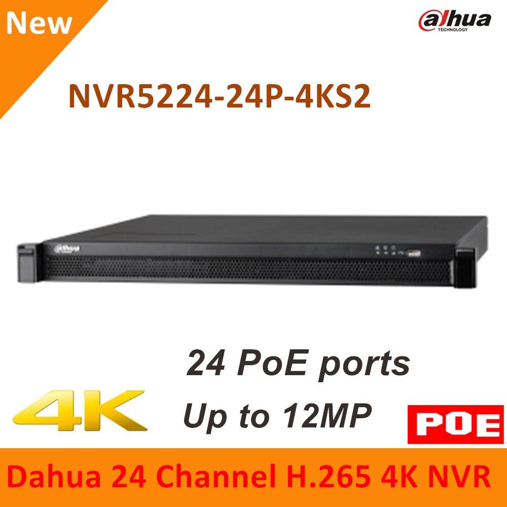 Dahua 4 K 24PoE NVR 24 Canaux NVR5224-24P-4KS2 4 K H.265 Pro réseau Vidéo Enregistreur jusqu'à 12MP Résolution pour caméras IP système