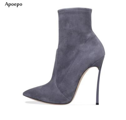 Apoepo Newest Pointed Toe Ankle Boots 2018 Grey Stretch Fabric Thin Heels Boots Woman Fashion Short Boots Riding Boots