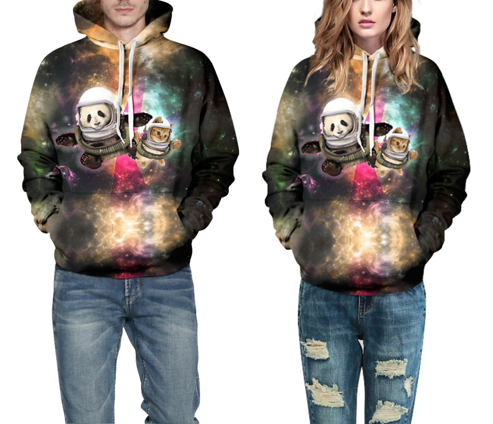 Hot Sell New Lover 3D Hoodies Space Panda Printed Sweatshirt Crewneck Pullover Couple Out Door Travel