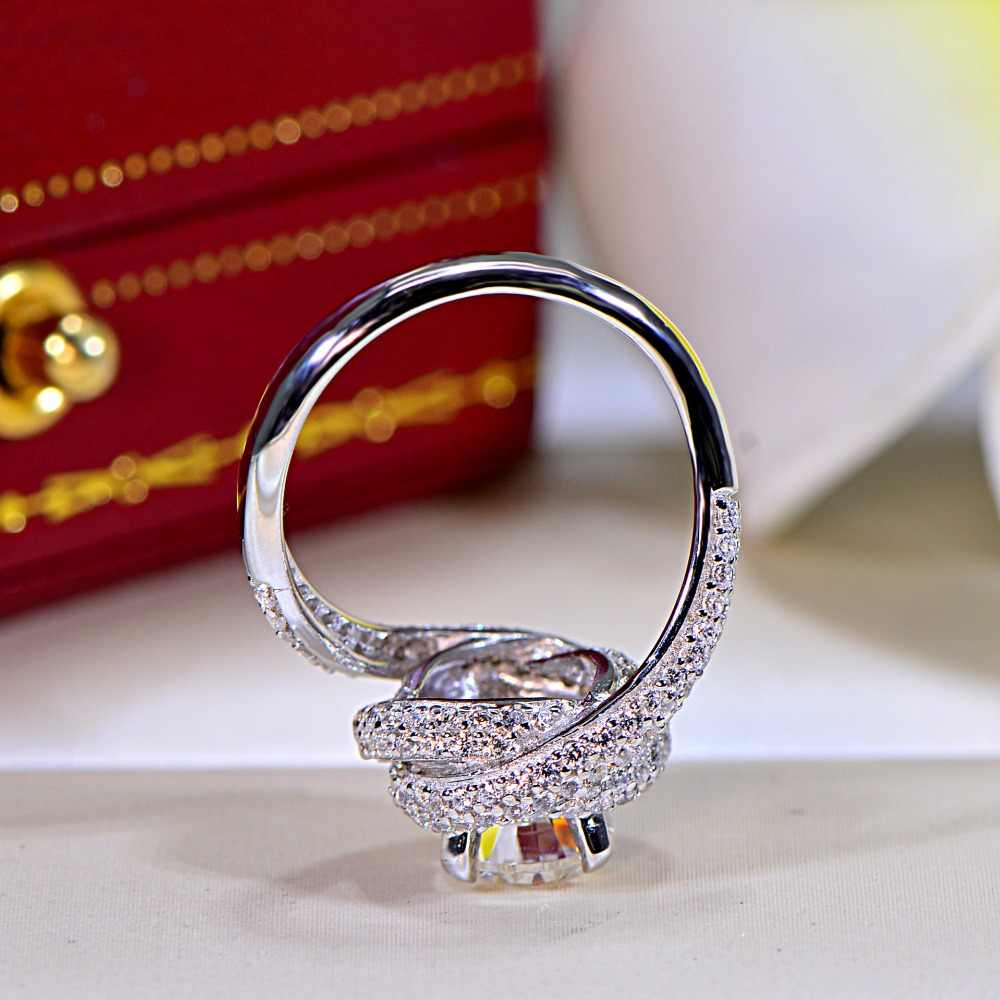 choucong Women Fine Jewelry ring 7mm AAAAA zircon cz 925 Sterling silver Cross Engagement Wedding Band Rings for women Bridal