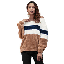 Women Sweatshirt New Striped Plush Fashion plus velvet Top Clothing Long Sleeve off-shoulder Sexy Comfortable 2018Winter plus open shoulder sweatshirt
