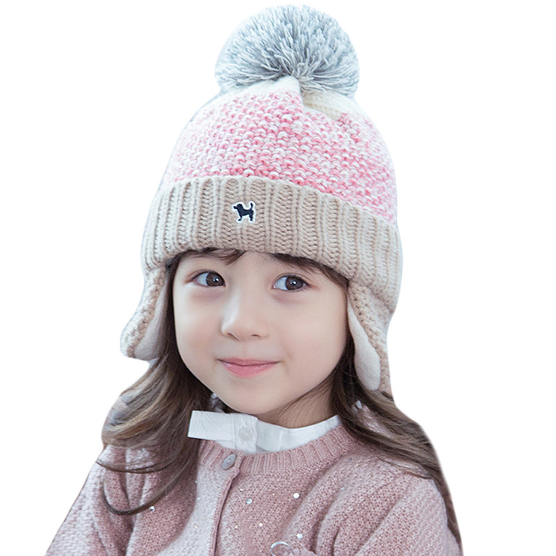 Baby Boys Girls Pom Pom Hats Wool Knitted Children Winter Caps Earflap Beanies Skullies Fur Pompom Hats For Kids Bonnet Enfant mother and kids 2017 winter caps fur pom poms hats for women faux fur beanies wool knitted pompom hat baby boys girls skullies