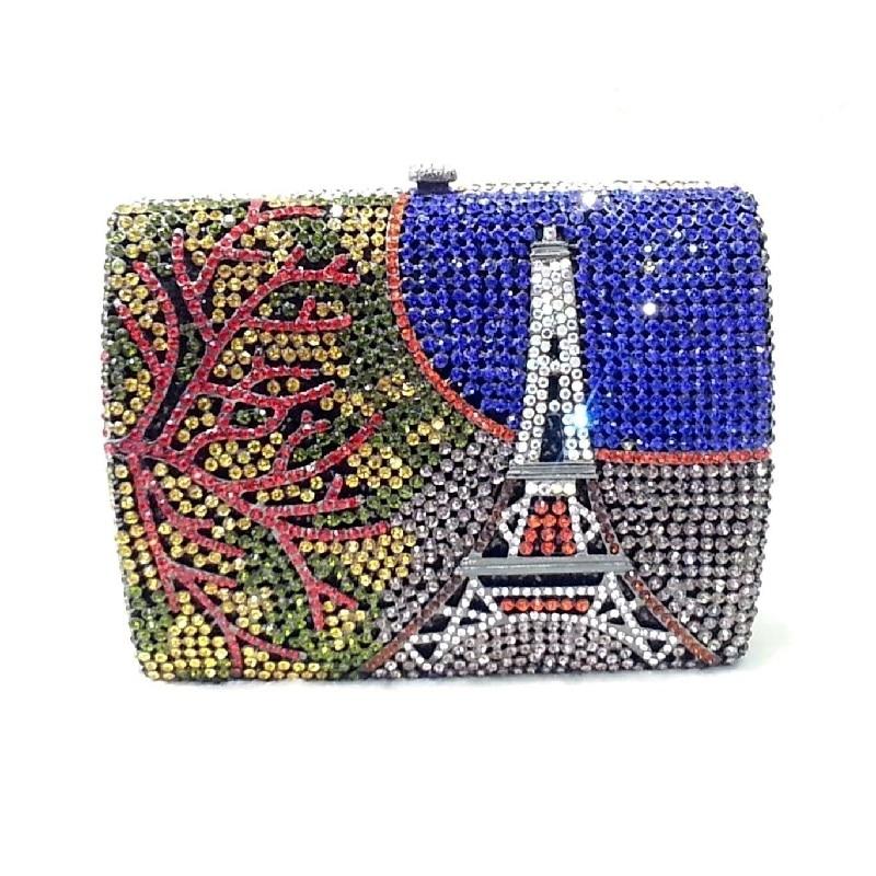 color-G Crystal EIFFEL TOWER Paris Lady Fashion Wedding Bridal hollow Metal  Evening purse clutch