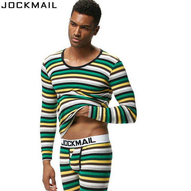 JOCKMAIL Brand Men Thermal Underwear Long Johns Sets 2pcs tops+pants Bottom Underwear cueca Gay Underwear leggings Underpants