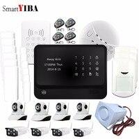 SmartYIBA 433MHZ Android ISO App Wireless GSM Home Alarm RFID Code Control Alarm IP Cameras Smoke