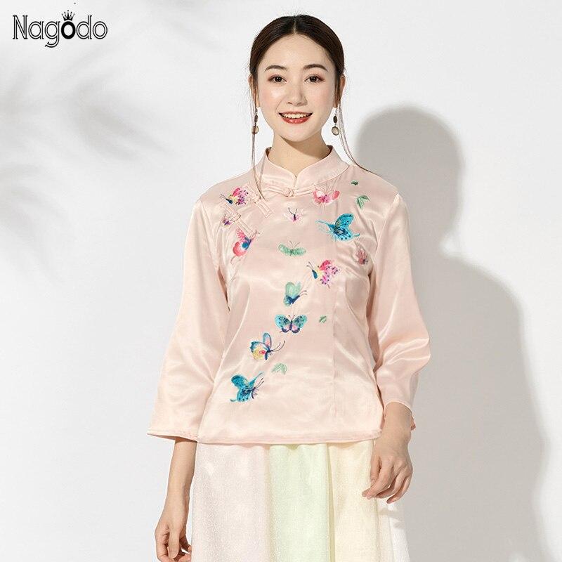 Chinois soie Top femmes neuf manches Satin papillon broderie chemise ethnique traditionnel chinois vêtements filles brodé haut