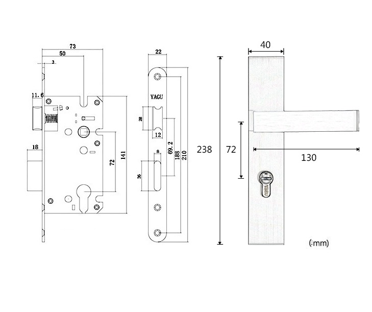 American Square Mortise Interior Door Lock 35 50mm door thickness -in Cabinet Latches from Home Improvement on Aliexpress.com   Alibaba Group  sc 1 st  AliExpress.com & American Square Mortise Interior Door Lock 35 50mm door thickness ... pezcame.com