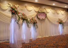 10ft*20ft White Party Backdrop Wholesale Party Backdrop for Stage Decoration Stage Backdrop with Detachable Swag