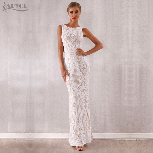 Adyce 2019 New Arrival Luxury Sequined Maxi Celebrity Evening Runway Party Dress Vestidos Sexy Sleeveless White Tank Club Dress 1