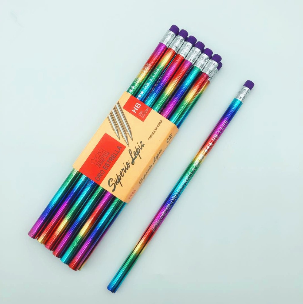 New Rainbow Pencil Wood Environmental Protection Pencil Bright Color Appearance Pencil School Office Writing Pencil
