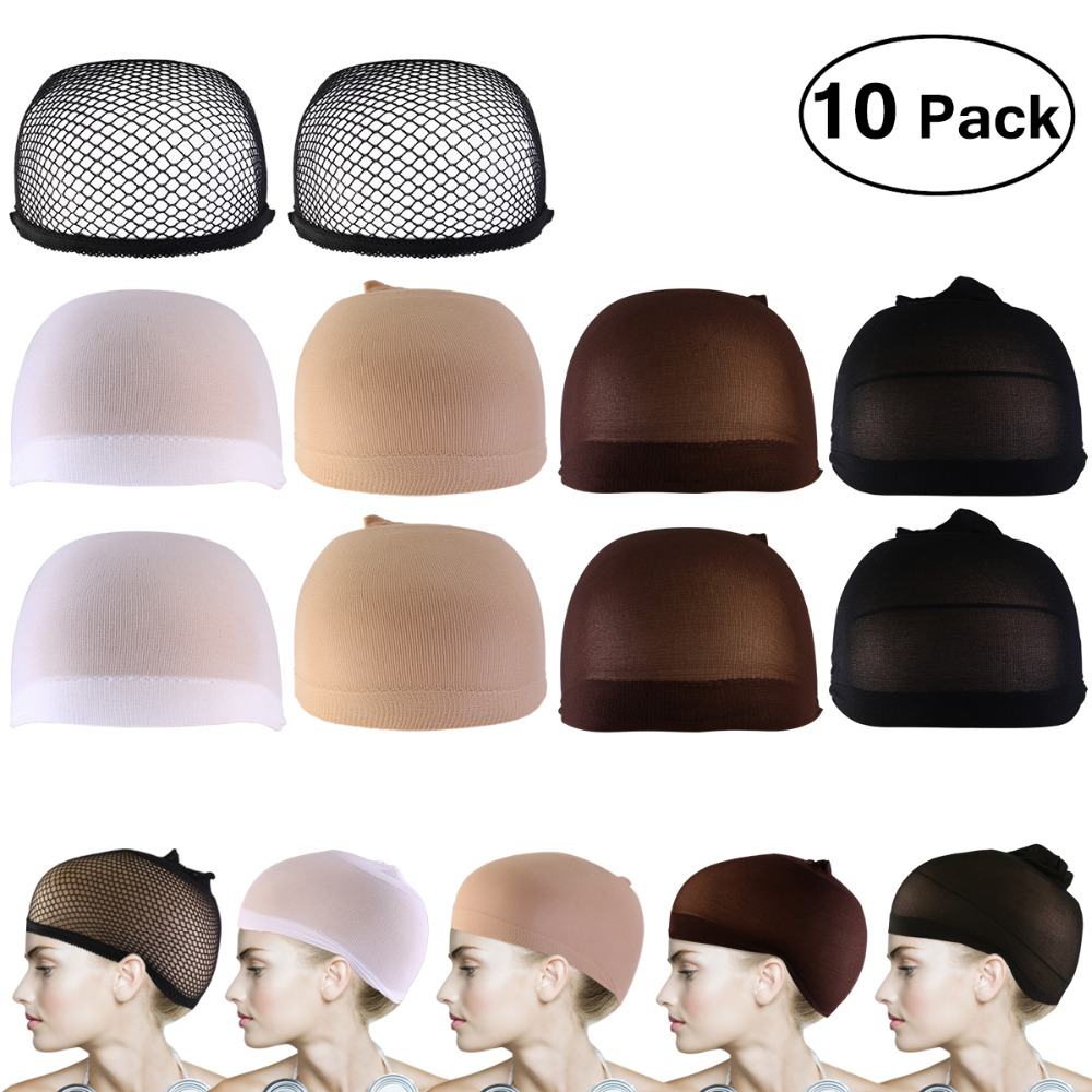10pcs Wig Caps Neutral Nude White Brown and Black Mesh Wig Cap Hairnets good Quality Mesh Weaving Wig Hair Net Making Caps 10pcsbreathable wig cap hairnet adjustable nylon weaving mesh wig caps with lace straps for making wig