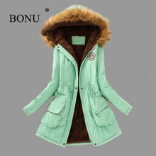 BO NU 2017 Fashion Winter Thicken Long Big Size Parka Warm Winter Hooded Fur Coat Plus Size Winter Warm Jackets Women Fur Coats