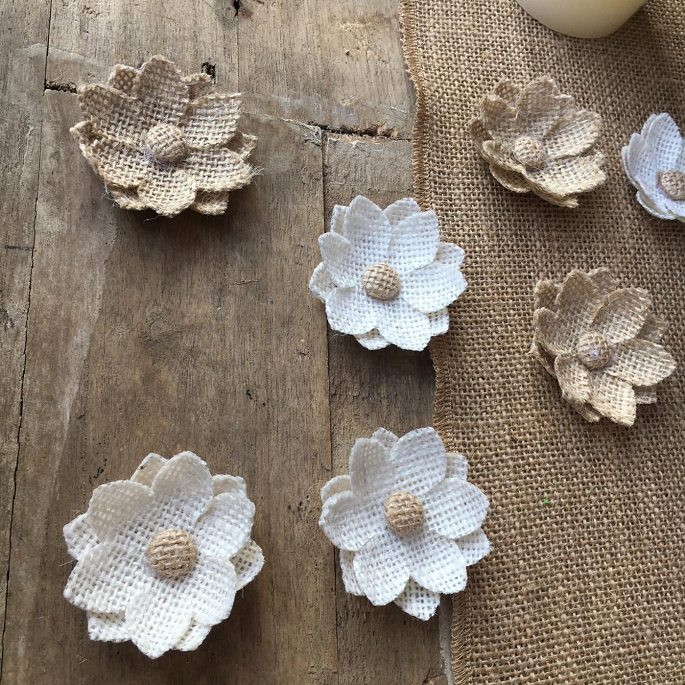 20pcs Decor Natural Hessian Handmade Flowers Jute Burlap Retro Wedding Dec VWD