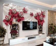 beibehang Custom wallpaper 3d photo wallpapers three-dimensional atmosphere noble European jewelry flowers TV backdrop