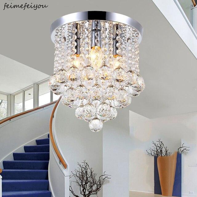 Хрустальный потолочный светильник для гостиной, круглый светодиодный светильник для украшения дома