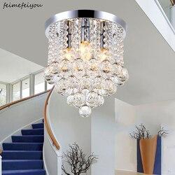 Nowe okrągłe led kryształowe oświetlenie sufitowe do salonu lampa wewnętrzna luminaria home decoration w Oświetlenie sufitowe od Lampy i oświetlenie na