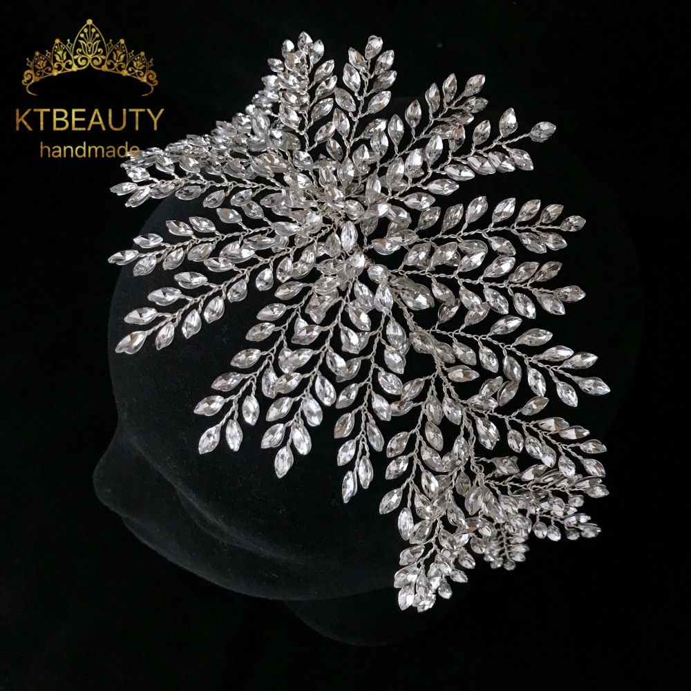 New Rhinestone Silver/Gold Custom Made Big Tiara Handmade Headpiece Royal Bridal Wedding Dressing Crown Accessory Women Jewelry-in Hair Jewelry from Jewelry & Accessories    1