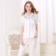 100% Silk Women Pajamas Natural Silkworn Sleepwear Female Short-Sleeve Top Pants Two-Piece Sets Spring Summer New T8001