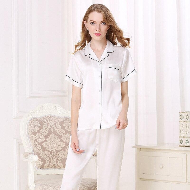 100% Silk Women Pajamas Natural Silkworn Silk Sleepwear Female Short Sleeve Top Pants Two Piece Sets Spring Summer New T8001