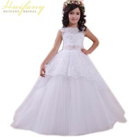 White Lace Ball Gown Flower Girl Dresses 2017 Lovely Pink Sashes Tulle Beading First Communion Dresses