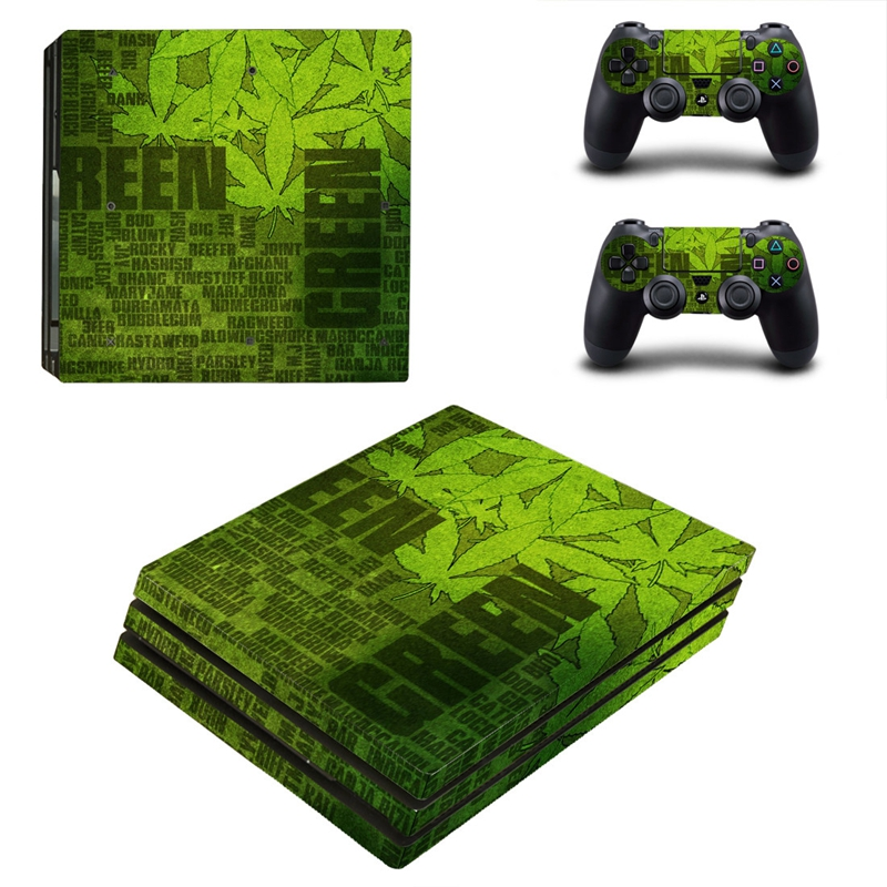 HOMEREALLY PS4 PRO Skin Green Custom Vinly PVC Sticker Cover For Playstaion 4 Pro Console and Controller Skin Ps4 Pro Accessory