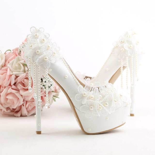 e0061025e2a98a Wedding Shoes White Flowers Pearls Tassel Super Higher Heels Bride Pumps  Autumn Winter Waterproof Comfortable Wear Shoe Date