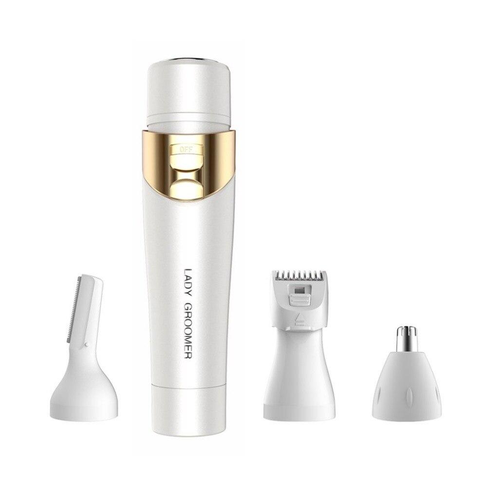 4 In 1 Women Epilator Electric Shaver Body Face Hair Removal Shaver Painless Female Bikini Body Face Epilator Remover Razor 1.5V