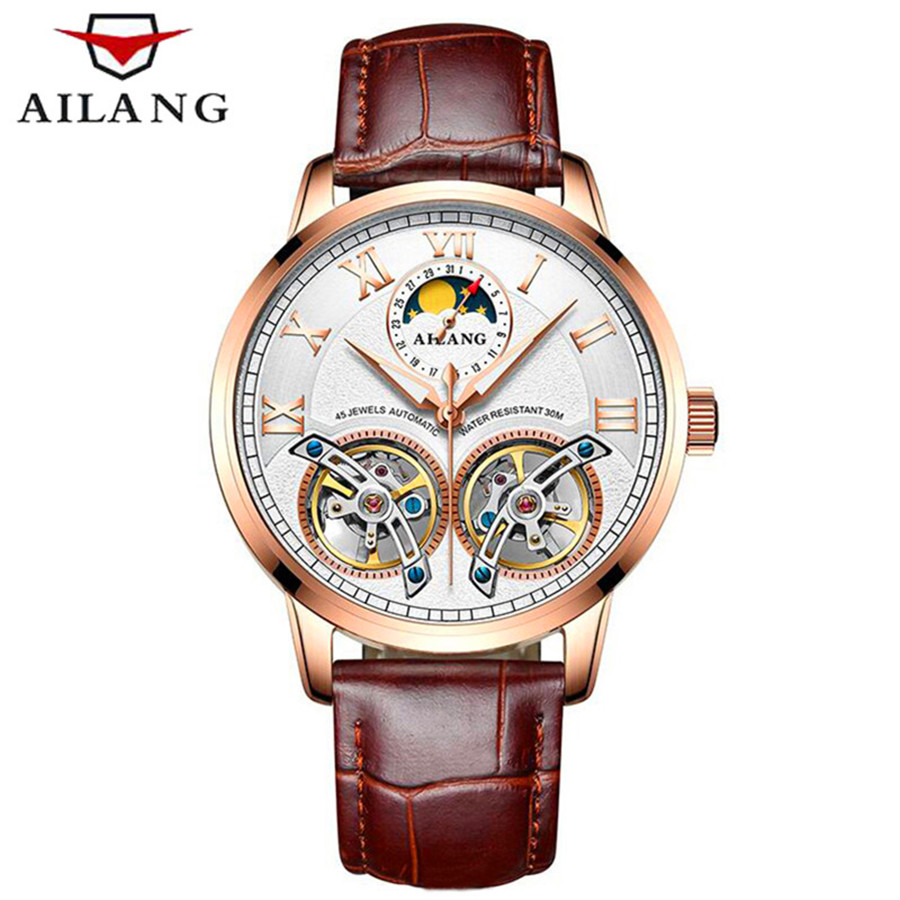 Mens Watches Top Brand Luxury AILANG Automatic Mechanical Watches Men Waterproof Double Tourbillon Watch Genuine Leather Watch