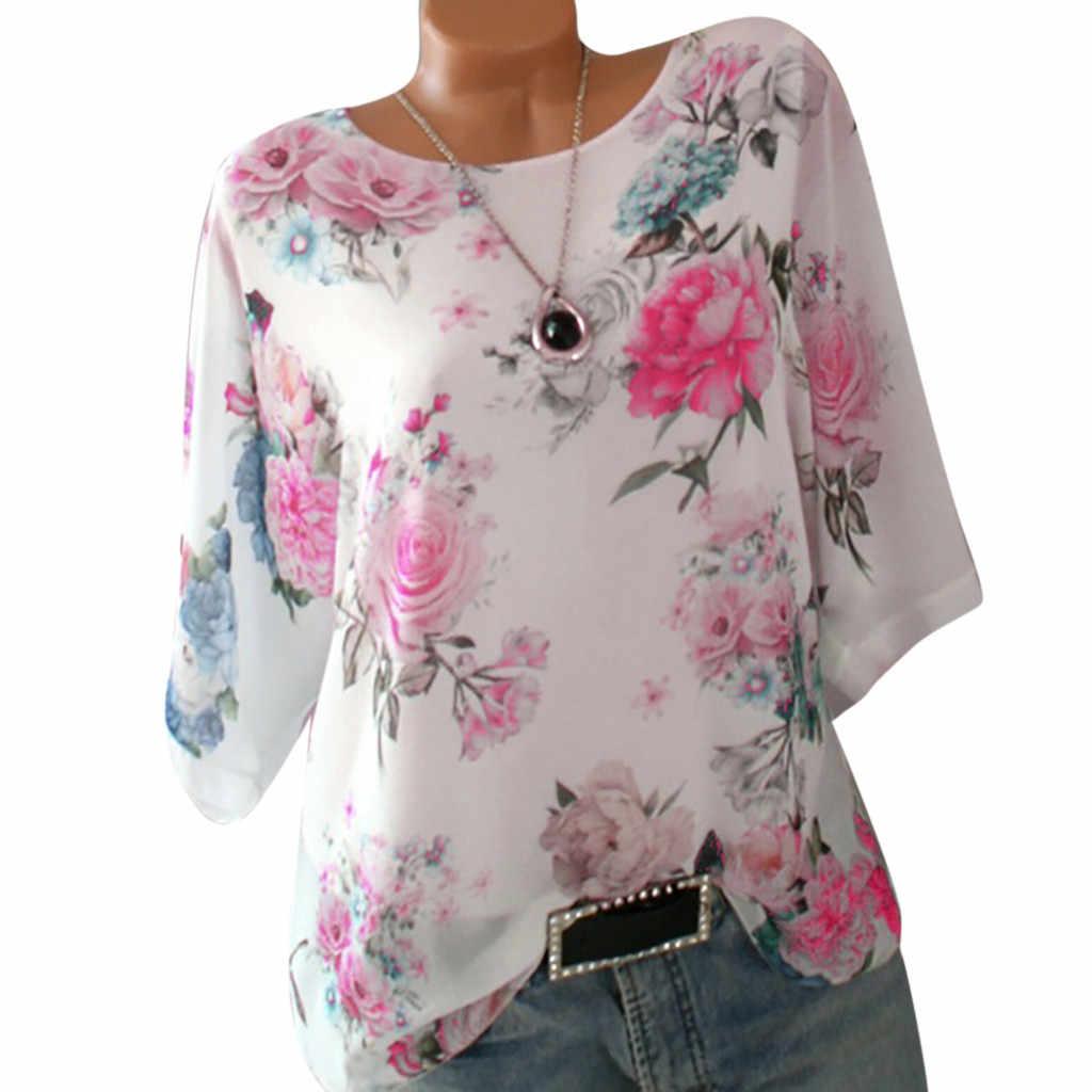 בתוספת גודל חולצה נשים בגדי 2019 חולצות טוניקת נשים חולצות קוריאני Loose פרחוני הדפסת גבירותיי חולצה קיץ חולצות תחתונית femme