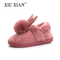 Lovely Style Cartoon Rabbit Winter Cotton Slippers Female Cute Rabbit Floor Indoor Slippers Fur Warm Plush