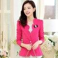 2016 chaqueta informal nueva moda mujer plus tamaño blazer feminino primavera del color del caramelo de las mujeres blazers ropa de abrigo