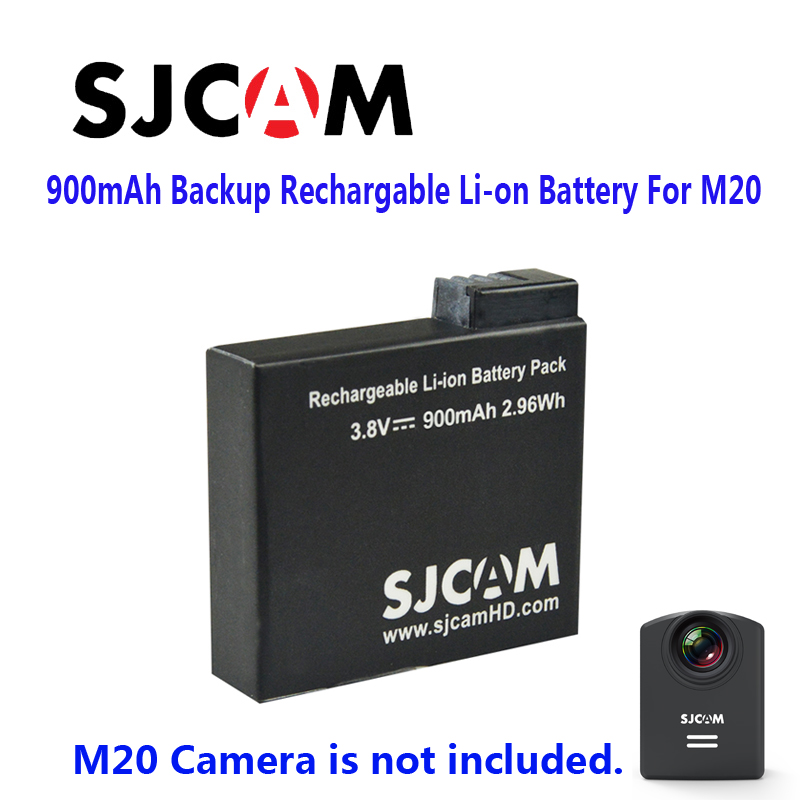 Free Shipping 100 Original SJCAM 900mAh Backup Rechargable Li on Battery For SJCAM M20 WiFi Sport