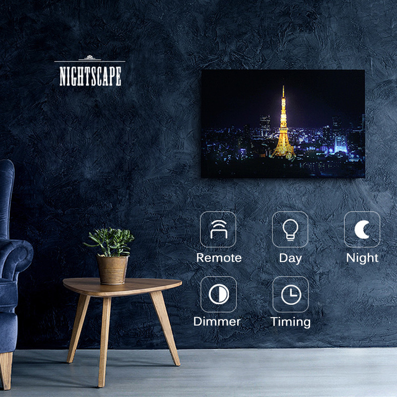 Creative Painting Night Light Moon Louvre Sydney Opera Tokyo Tower Wall Lamp Oil Painting Art Picture Nightlight Home Decoration laptop cooling fan for asus pu500ca fan