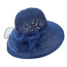 2019 Women Floppy Summer Hat Elegant Fancy Striped Bow Wide Brim Sun Hat Organza Kentucky Derby Wedding Hat Ladies Occasion Hats