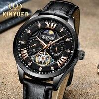 KINYUED Tourbillon Automático Mecânica Auto Vento Relógios De Pulso Mens Cronógrafo À Prova D' Água Esqueleto Homem Relógio relogio masculino|Relógios mecânicos| |  -