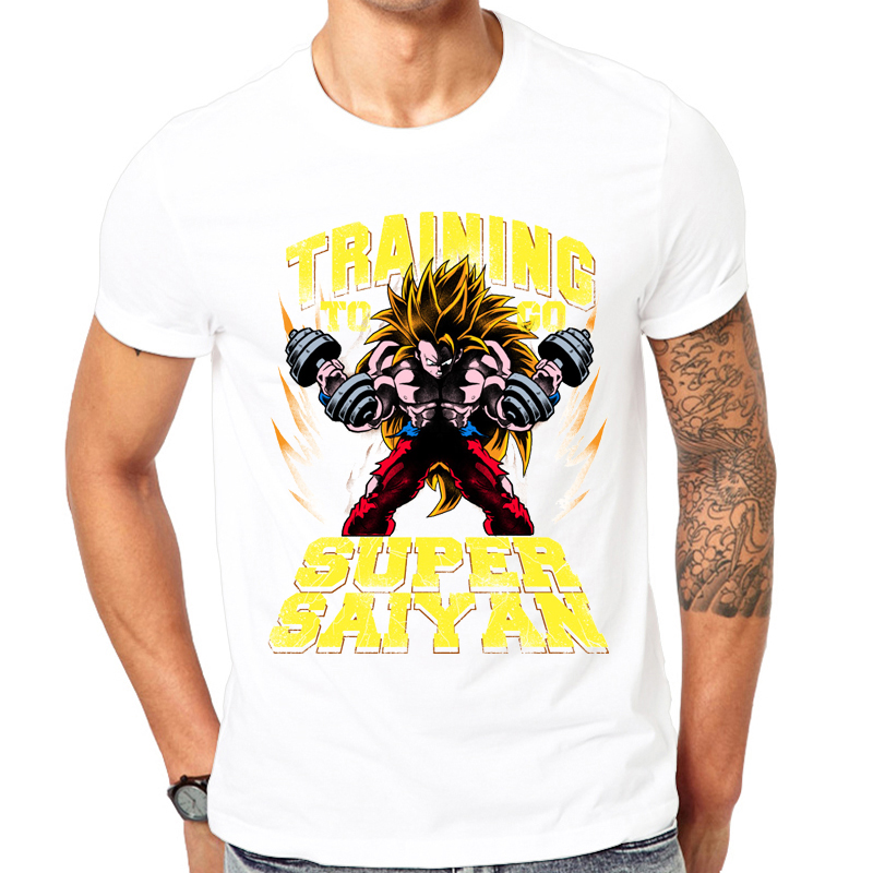 2018 Hot Fashion Men Exercise t shirt Dragon Ball Z print t shirt super Blue Saiyan Son Goku Vegeta T shirt High quality tops