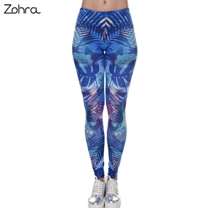 Zohra جديد أزياء المرأة طماق الاستوائية يترك الطباعة الأزرق اللياقة البدنية يغطي الرجل مثير سلم Legins عالية الخصر تمتد بنطلون السراويل
