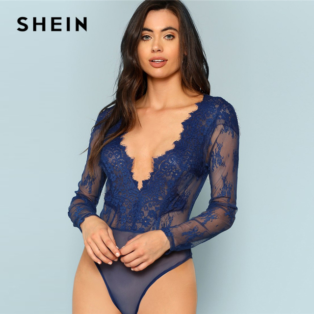 SHEIN Blue Plunge Neck Floral Lace Bodysuit Sexy Embroidery Deep V Neck  Long Sleeve Bodysuits Women Autumn Sheer Skinny Bodysuit 22c8bddc9