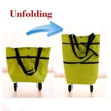 Carro dobrável carrinho de bagagem ajustável saco de compras moda flexível saco de carga com rodas apto para avó e senhoras
