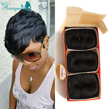 Human Hair Short Bump Weave Brazilian Virgin Hair Extensions 4inches 27 Pieces Short Hair Weave With Free Closure And Shower Cap