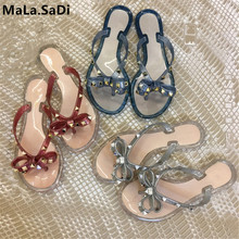 New Fashion Summer Woman Sandals Rivet Studs Flip Flops Slip On Bow knot Flat Slippers Studded Cool Beach Slides Jelly Shoes new peep toe women flats shoes causal beach bow tie jelly woman summer flip flops slippers slip on women sandals
