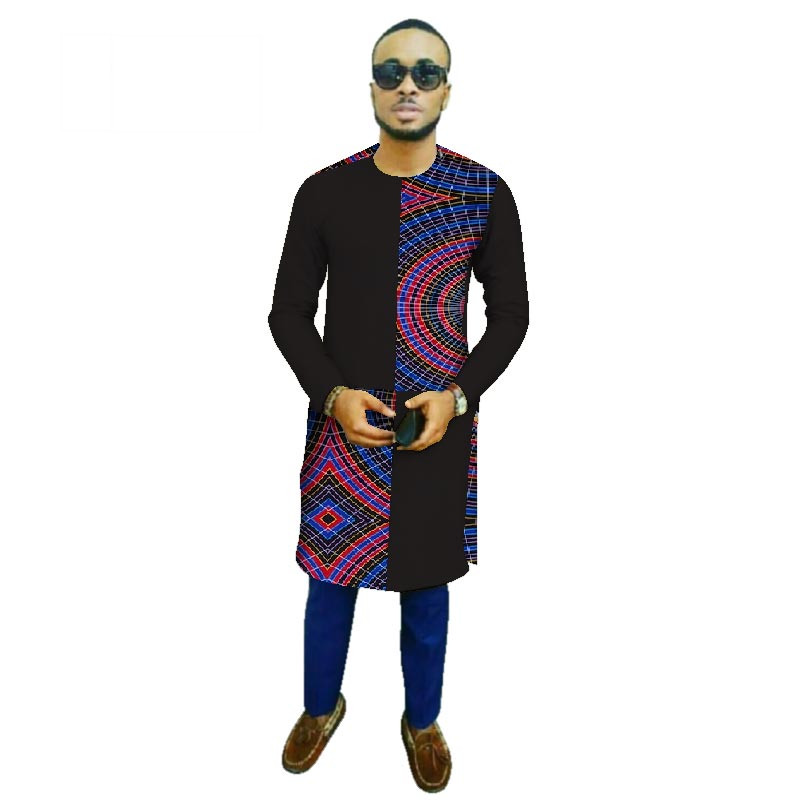 554299d718b Plus Size New Traditional African Style Clothing Men Clothes Cotton  Patchwork Long Top Dashiki African Wax Print Shirt WYN459