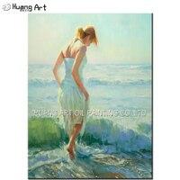Новейшая ручная работа морской пейзаж живопись на холсте для красивый домашний декор девушка играть вода морской характер масляной живопи