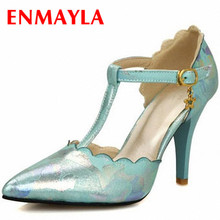 ENMAYER  Fashion Women Pumps Gladiator High Heels Platform Sexy Ankle Straps Shoes Big Size 34-47 shoes women