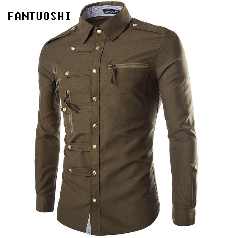 2018 Autumn New Casual Mens Pilot Shirt Long Sleeve slim lapel Shirts Men Fashion Epaulet Double Pocket Shirts Army Green XXL