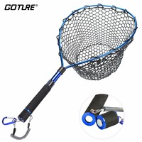 Goture Telescopic Fishing Net Landing Net Of Aluminum Alloy Frame Small Rubber Mesh Magnetic Clip Lanyard