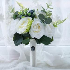 Image 4 - Kyunovia Green Alternative Wedding Centerpiece Toss Bouquet Rose Bridal Flower with Berries Mountain Meadow Wedding Bouquet FE48