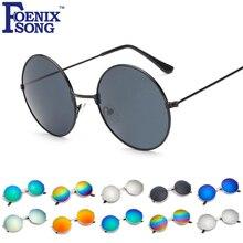 Foenixsong marca new óculos de sol para mulheres homens espelho uv400 lens Rodada do vintage Óculos de Sol Oculos gafas de sol Feminino Preto 4066()